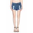 Hot Distressed High Waist Dark Wash Denim Shorts