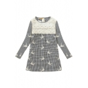 Plaid Print Lace Insert Bird Lace Embroidered Dress