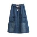Drawstring Elastic Waist Denim Plain Pockets Skirt