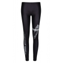 Black Unique Print Elastic Skinny Leggings