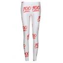 White 100 Point Print Elastic Skinny Leggings