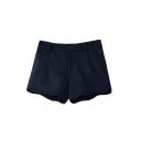 Mori Girl Style Curve Hem Plain Wool Shorts