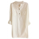 Fresh Concise Style V-Neck Double Pockets Front Cotton White Blouse
