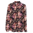 Full of Floral Print Lapel Long Sleeve Vintage Shirt