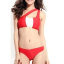 Color Block One Shoulder Padded Cup Bikini Set