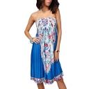 Elastic Chest Strapless Tribal Flower Print A-line Dress