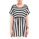 White/Black Stripe Print Open Shoulder Short Sleeve Gathered Waist Dress