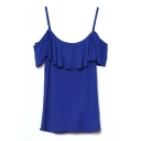Royal Blue Ruffle Layer Insert Neckline Camis