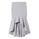 Gray Elastic Waist Fitted Mermaid Skirt with Dip Hem
