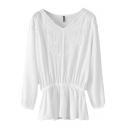 Chiffon V-Neck Long Sleeve Elastic Waist White Lace Embroidered Blouse