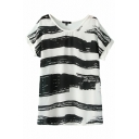 Short Sleeve Ink Brush Print Mono Basic T-Shirt