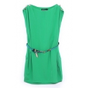 Candy Color Button Shoulder Belted Dress