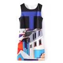 Geometrical Pattern Round Neck Sleeveless Dress