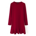 Plain Ruffle Hem Long Sleeve Fitted Dress