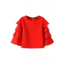 Red Ruffle Trim Sleeve Round Neck Cutout Back Blouse