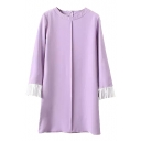 Pleated 3/4 Sleeve Round Neck Shift Dress