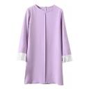 Pleated 3/4 Sleeve Round Neck Shift Dress
