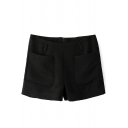 Black Double Pocket Zip Back Shorts