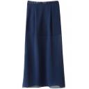 Dark Blue Split Chiffon Maxi Skirt