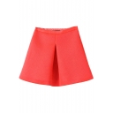 Orange Plain High Waist A-Line Skirt