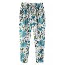 Blue Floral Print Elastic Waist Harem Pants