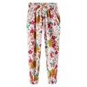 Bright Floral Print Drawstring Waist Harem Pants