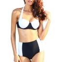 Color Block Wide Strap Halter High Waist Bikini Set