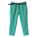 Green Fitted Harem Casual Crop Pants
