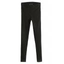 Black Zipper Fly Elastic Casual Pencil Pants