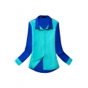 Blue Long Sleeve Color Block Single Breast Blouse