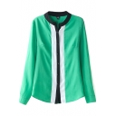 Color Block Stand Collar Long Sleeve Blouse