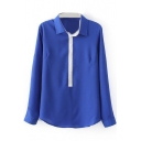 Royal Blue Contrast Placket Long Sleeve Blouse