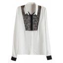 Contrast Placket and Cuff Organza Long Sleeve Blouse