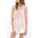 Pink Lace Insert Short Sleeve Sheer Blouse