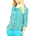 Green Lion Print Knotted 3/4 Sleeve Ruffled Hem Blouse