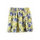 Yellow&Blue Flower Print Chiffon Skater Skirt