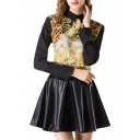 Gold Totem Black Sleeve Back Zip Lapel Blouse