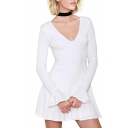White V-Neck Flared Long Sleeve Dress