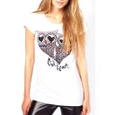 White Colorful Owl Print Short Sleeve T-Shirt