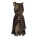 Leopard Print Sleeveless Dress with Asymmetrical Hem