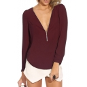 Burgundy Long Sleeve Zippered V-Neck Chiffon Blouse