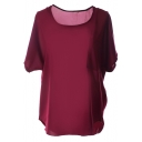 Burgundy Short Sleeve Pocket Front Chiffon Blouse