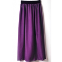 Grape Elastic Waist Chiffon Maxi Skirt