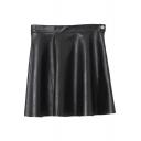 Plain Black PU Plain Zipper Fly Skirt