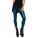 Green Geometric Pattern Gilding Leggings