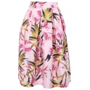 Floral and Leaf Print Elastic Waist Pleated Skirt