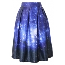 Dream Starry Sky Print High Waist Pleated Midi Skirt