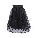 Organza Polka Dot A-Line Midi Skirt with Elastic Waist