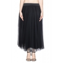 Plain Mesh High Waist Layers Maxi Skirt
