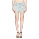 Plain Distressed High Waist Denim Shorts with Frayed Cuffs